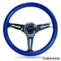 NRG  Classic Wood Grain Wheel, 350mm 3 chrome spokes, blue pearl/flake paint