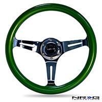 NRG  Classic Wood Grain Wheel, 350mm 3 chrome spokes, green pearl/flake paint