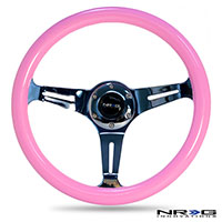 NRG  Classic Wood Grain Wheel, 350mm 3 chrome spokes, solid pink painted grip
