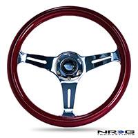 NRG  Classic Wood Grain Wheel, 350mm 3 chrome spokes, red pearl/flake paint