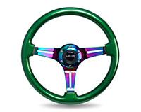 NRG  Classic Wood Grain Wheel, 350mm 3 Neochrome spokes, green pearl/flake paint