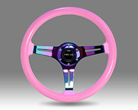 NRG  Classic Wood Grain Wheel, 350mm 3 Neochrome spokes, solid pink painted grip