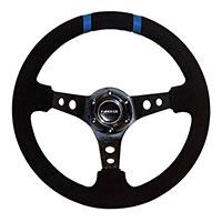 "NRG  350mm Suede Sport Wheel (3"" Deep) Black w/ Blue Double Center Marking"