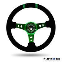 "NRG  350mm Suede Sport Wheel (3"" Deep) Green w/ Green Double Center Marking"