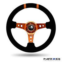 """NRG  350mm Suede Sport Wheel (3"""" Deep) Orange w/ Orange Double Center Marking"""