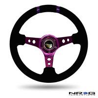 """NRG  350mm Suede Sport Wheel (3"""" Deep) Purple w/ Purple Double Center Marking"""