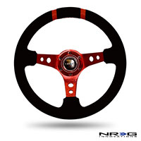 "NRG  350mm Suede Sport Wheel (3"" Deep) Red w/ Red Double Center Marking"