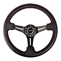 """NRG  350mm Sport Steering Wheel (3"""" Deep) Black Leather with Red Stitching"""