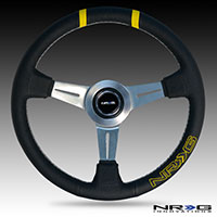 """NRG  360mm """"bumble Bee"""" Sport Wheel - Blk Leather w/ double ylw Center mark"""