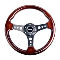 NRG  Classic Wood Grain Wheel, 330mm, 3 spoke center in black, darker wood