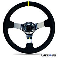 NRG  350mm Sport wheel  - Black Leather, Red Baseball Stitch, Chrome spk - Yellow stripe
