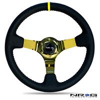 NRG  350mm Sport wheel  - Black Leather, Red Baseball Stitch, Gold spoke