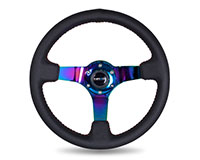 NRG  350mm Sport wheel  - Black Leather, Red Baseball Stitch, Neochrome spokes