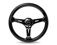 """NRG  Classic Black Wood Grain Wheel (3"""" Deep), 350mm, 3 spoke center in Black Chrome"""
