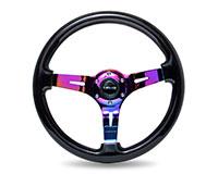 """NRG  Classic Black Wood Grain Wheel (3"""" Deep), 350mm, 3 spoke center in Neochrome"""