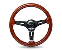 """NRG  Classic Dark Wood Grain Wheel (3"""" Deep), 350mm, 3 spoke center in Black Chrome"""