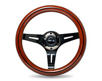 NRG  Classic Dark Wood Grain Wheel, Black line inlay, 310mm, 3 spoke center in Black Chrome