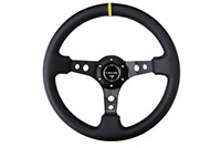 "NRG  350mm Sport Steering Wheel (3"" Deep) - Leather w/ Yellow Center Mark"