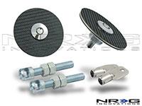 NRG  Black Carbon Fiber Overlay Hood Lock w/ key