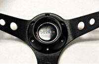"""NRG  350mm Sport Steering Wheel (3"""" Deep) Red w/ Silver Double Center Marking"""