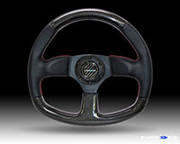 NRG  320mm Flat Bottom Carbon Fiber Steering Wheel with Red Stitching