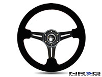 """NRG  350mm Sport Steering Wheel SUEDE (3"""" Deep) Black Leather with Red Stitch"""