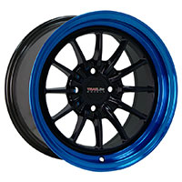 TRAKLITE CHICANE 15X8.25 4X100 ET20 BLACK WITH BLUE LIP