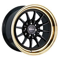 TRAKLITE CHICANE 15X8.25 4X100/114.3 ET20 GLOSS BLACK COPPER LIP
