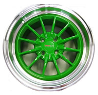 TRAKLITE CHICANE 15X8.25 4X100 ET20 GREEN POLISHED LIP